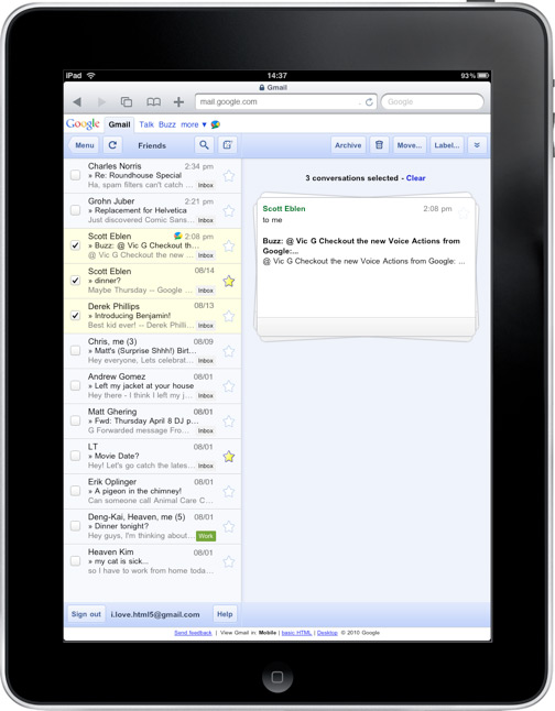 Gmail on the iPad gets a new look