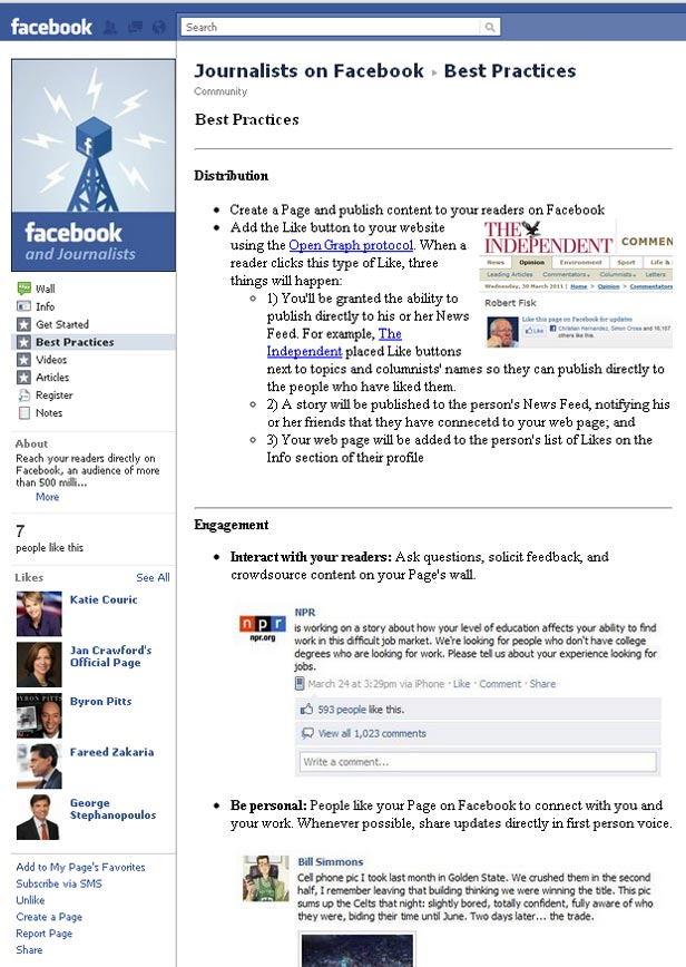 Journalists on Facebook Facebook Page