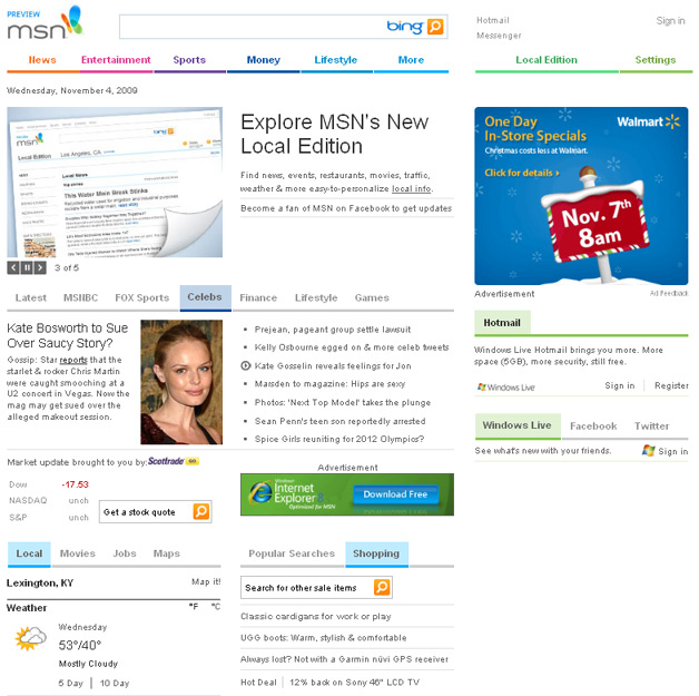 MSN Homepage Gets Bing Prominence Tweak