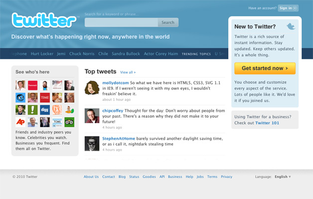 New Twitter Home Page being tested