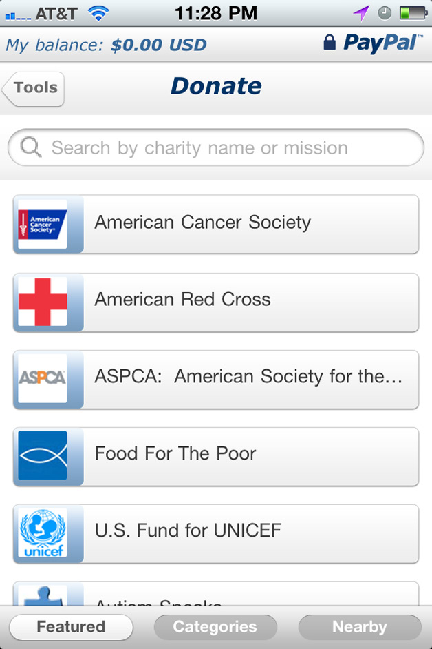 PayPal Adds Donation Feature to iPhone, iPad App