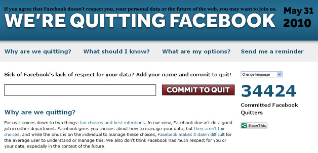 Quit Facebook Day - The Site