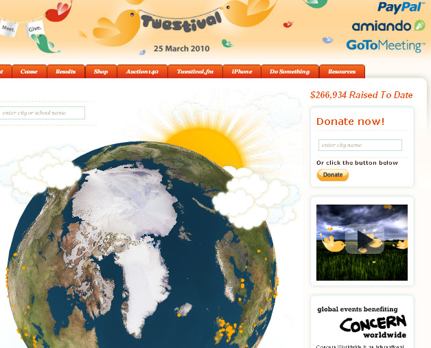 Twestival - People can donate money through paypal