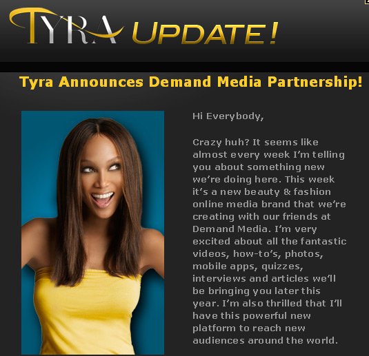 Tyra Banks Partners with Demand Media