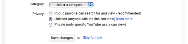 YouTube - Unlisted Videos option for privacy