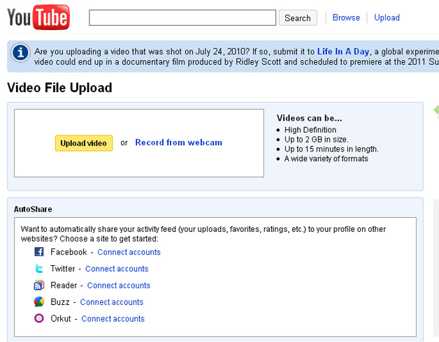 YouTube Ups Upload Limit to 15 Minutes Per Video