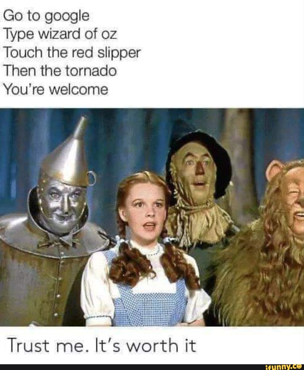 Wizard Of Oz Touch The Red Slipper Then The Tornado : wizard, touch, slipper, tornado, Google, Wizard, Touch, Slipper, Tornado, You're, Welcome, Trust, IFunny