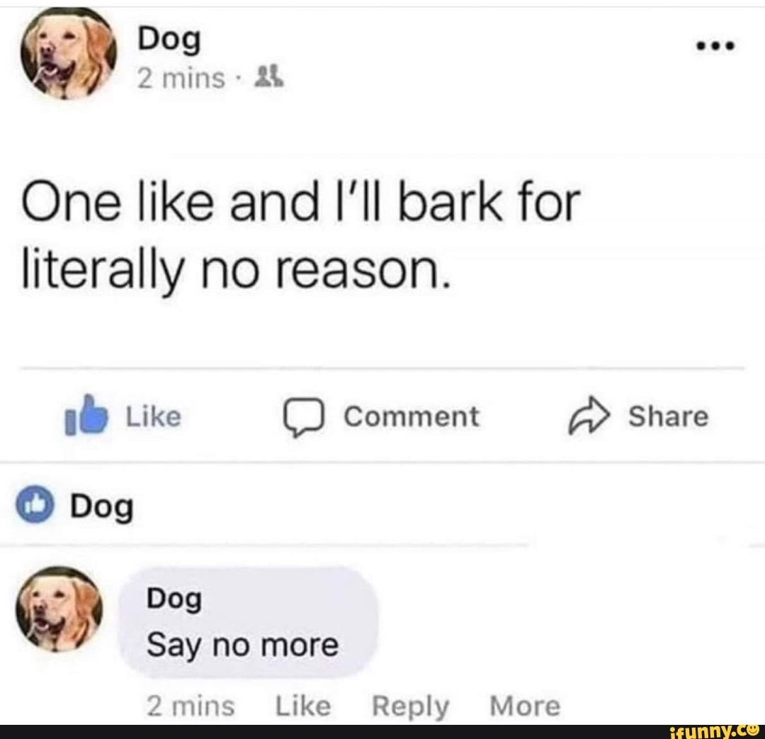 One like and I'II bark for literally no reason. 2mins Like