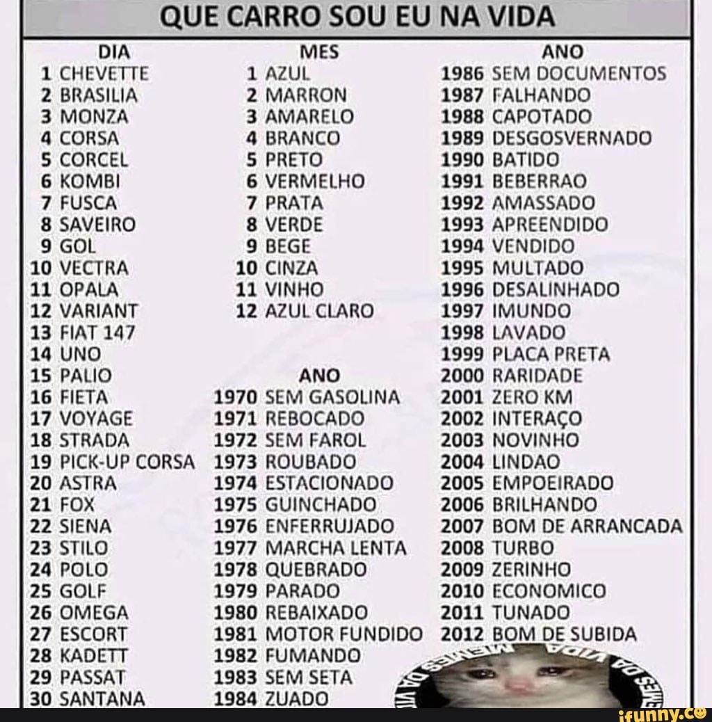 QUE CARRO SOU EU NA VIDA DIA 1 CHEVETTE 2 BRASILIA 3 MONZA