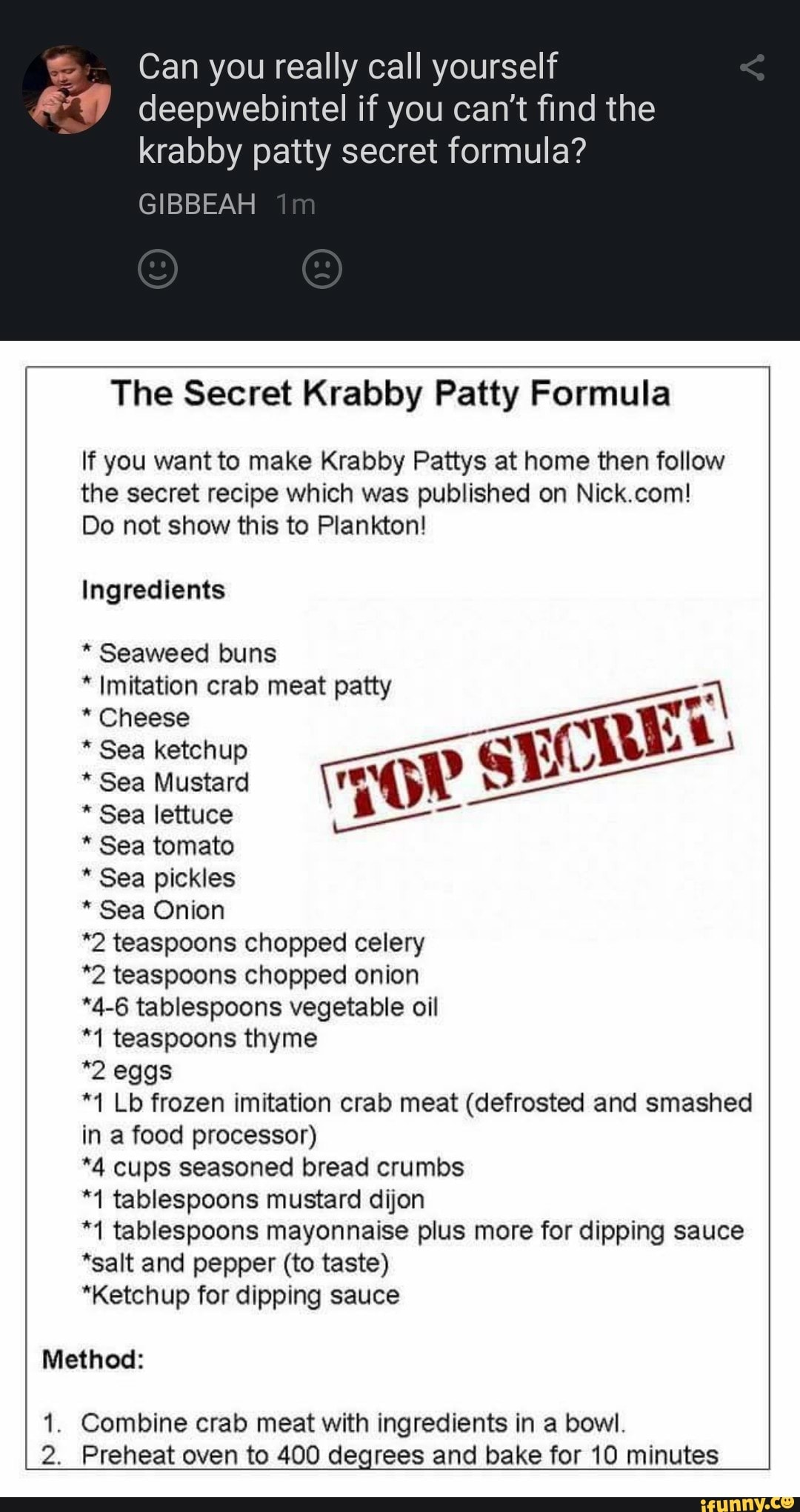 The Secret Krabby Patty Formula Nick Com : secret, krabby, patty, formula, Really, Yourself, Can't, Krabby, Patty, Secret, Formula?, GIBBEAH, Formula, Pattys