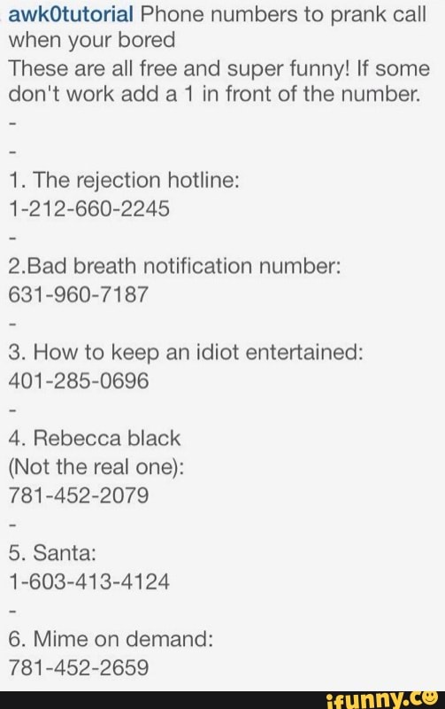 Funny Fake Phone Numbers : funny, phone, numbers, Funny, Phone, Numbers