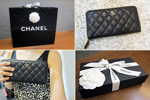 購物 Chanel經典荔枝皮拉鍊長夾,送給自己的生日禮物開箱文