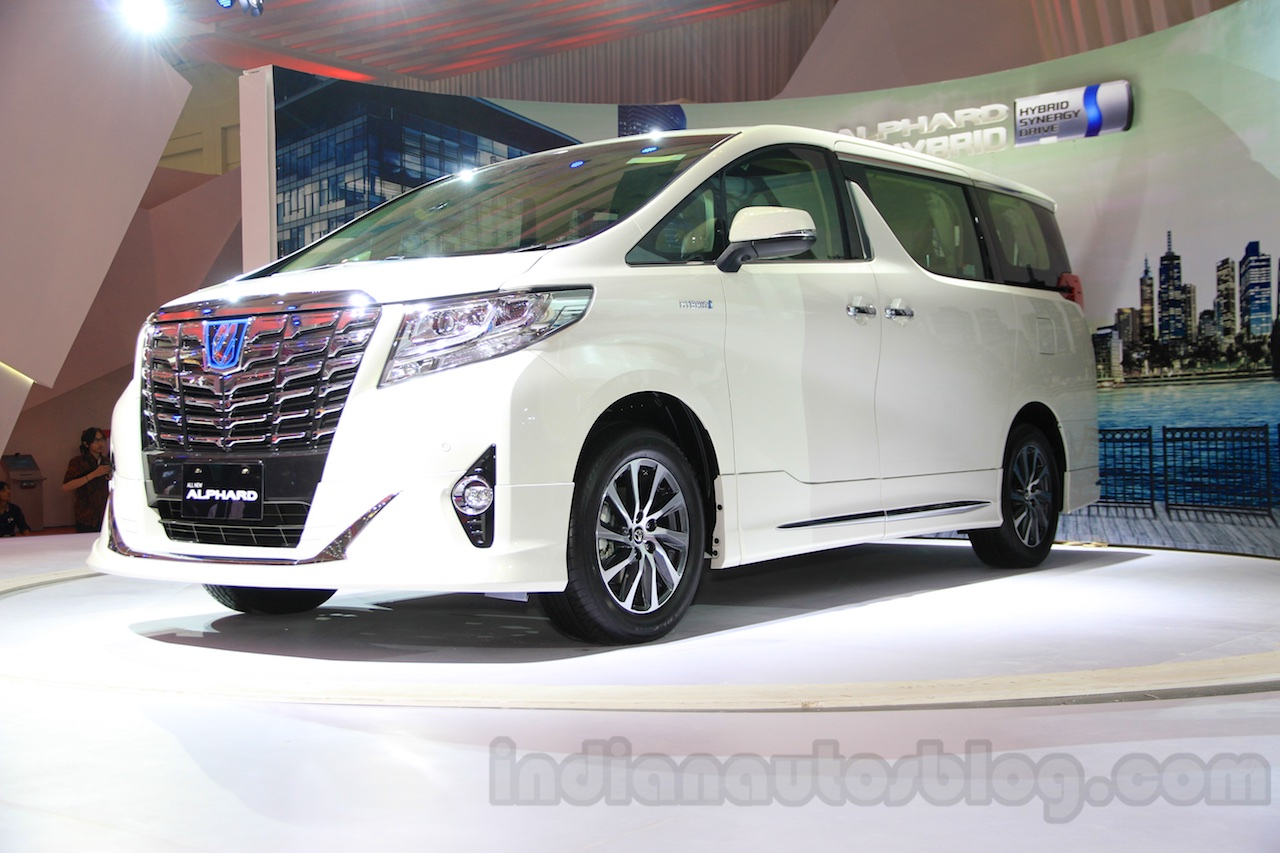all new alphard hybrid toyota yaris heykers trd sportivo mpv considered for indian launch front three quarter right at the gaikindo indonesia international auto show 2015