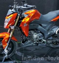 kawasaki z125 pro orange front quarter at 2015 thailand motor show [ 1280 x 720 Pixel ]