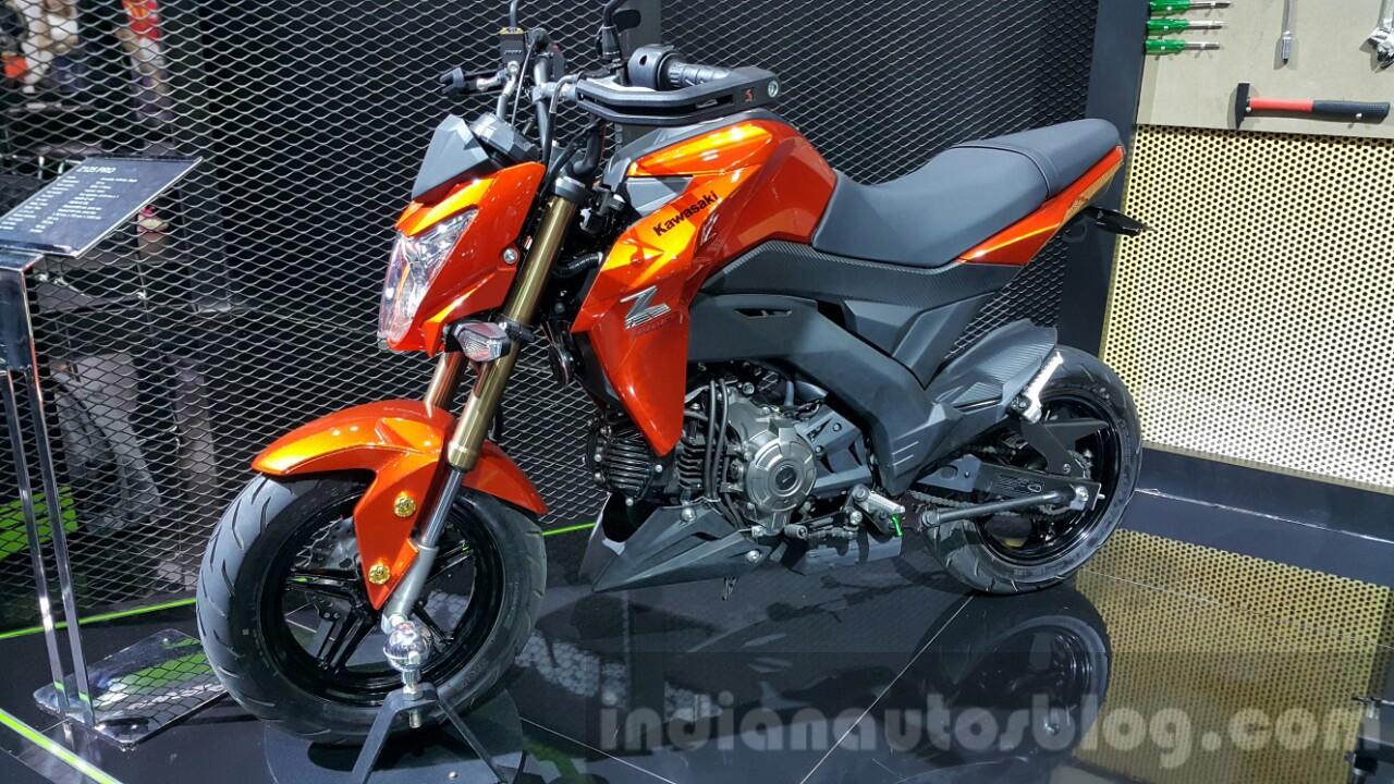 hight resolution of kawasaki z125 pro orange front quarter at 2015 thailand motor show