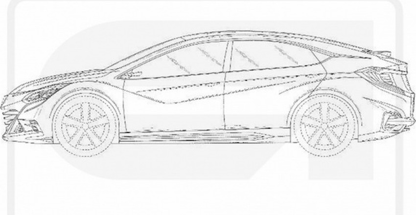 2016 Honda Civic hatchback side leaked patent drawings