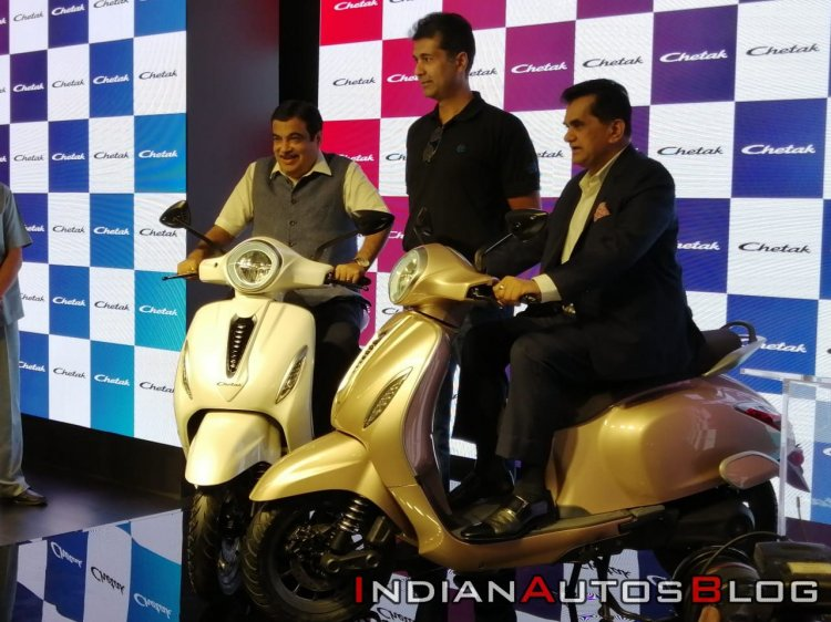 Bajaj Chetak Electric Scooter Unveiled On Stage