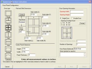 Cabinet Door Calculator 45 Download  WoodShopCalc50exe