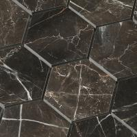 Hexagon shape chip 3x3 inch tile Dark emperador marble