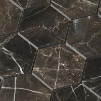 Hexagon shape chip 3x3 inch tile Dark emperador marble ...