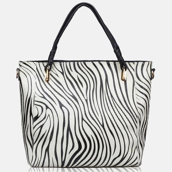 White and Black Color Patent Soft Leather Tote Zebra Print