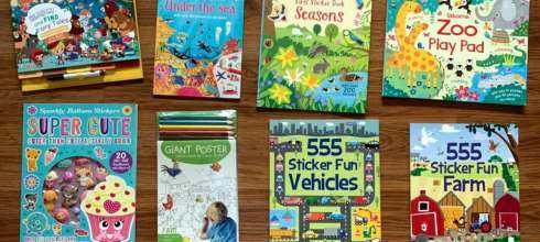 媽媽必買 小孩打發時間好物:童話找找書,轉印貼紙書,閃閃氣球遊戲書,超大海報著色組