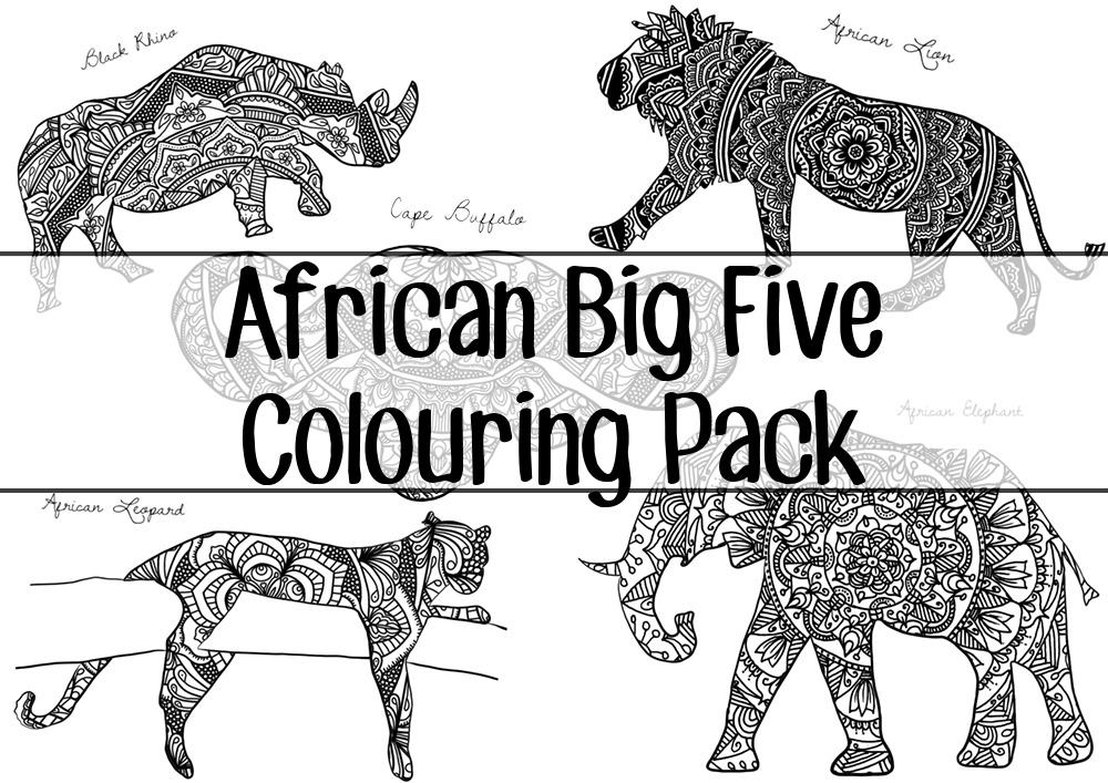 African Big Five Colouring Pack by Screwy Lightbulb