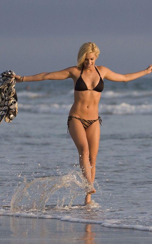 Ashley Roberts of Pussycat Dolls in bikini at Malibu beach