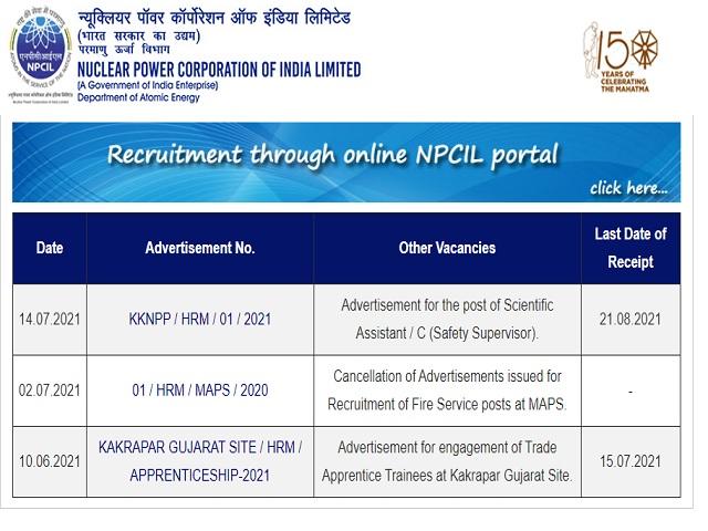 न्यूक्लियर पावर कॉरपोरेशन ऑफ इंडिया लिमिटेड (एनपीसीआईएल) भर्ती 2021: वैज्ञानिक सहायक पदों पर करें आवेदन