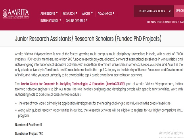 Apply Online for Junior Research Assistants/Research Scholars Posts