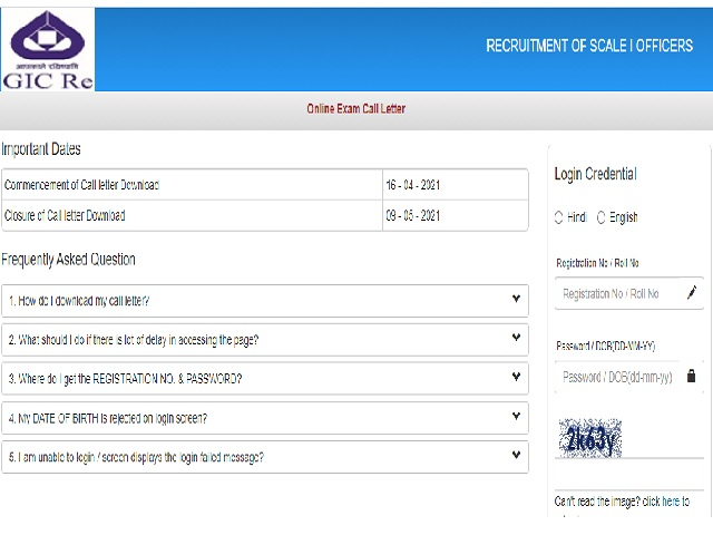 GIC Officer Scale I Admit Card 2021 OUT for Various Posts @gicofGadgetClock.com, Exam on 9 May, Link Here