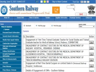 Railway High School Podanur Recruitment 2021 for TGT Posts, Download SR Notification PDF @sr.indianrailways.gov.in