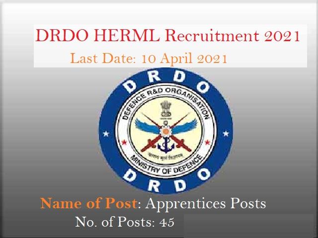 Apply for 45 Apprentice Posts, Salary Rs. 9000 @drdo.gov.in