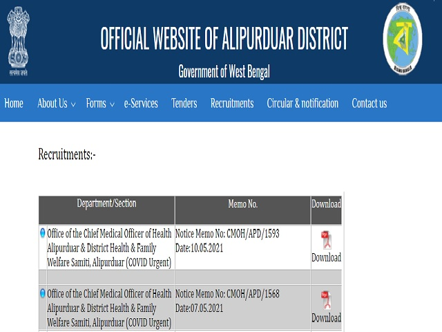 DHFWS Alipurduar Recruitment 2021, Walk in for 47 Staff Nurse Posts before 17 May