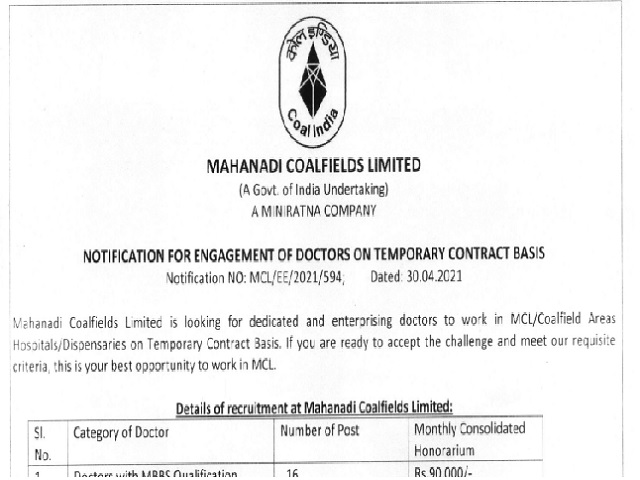 Mahanadi Coalfields Recruitment 2021 for GDMO & Specialists, Download MCL Doctor Notification @mahanadicoal.in