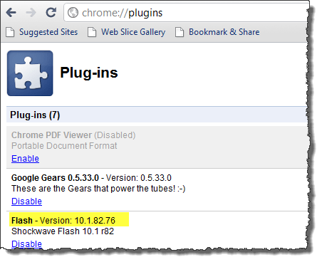 Check version of Flash in Chrome