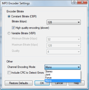 Encode settings to fix left channel only