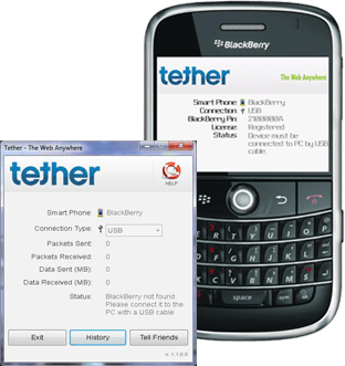 Tether BlackBerry to laptop