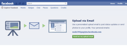 Facebook upload email