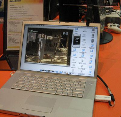 Aver Mac TV Tuner mounted on Macbook