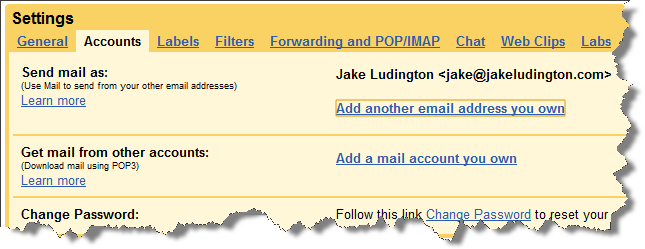 Add email address in Gmail