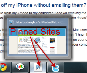 Pin a site to the taskbar in IE9