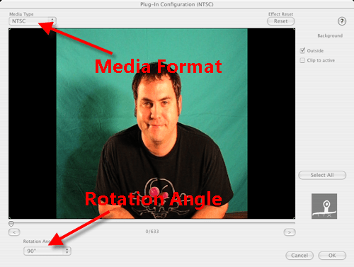 Configure Turn Clip Roatate Angle in iMovie