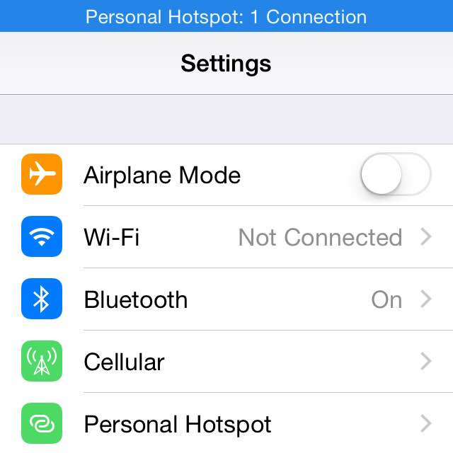 iPhone personal hotspot