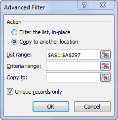 Configure Excel Advanced Filter settings