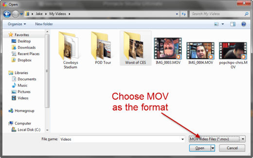 Open iPhone MOV files on a PC for editing