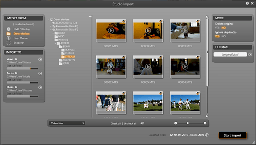 Import video with Pinnacle Studio HD