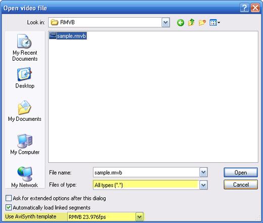 Open RMVB with VirtualDub