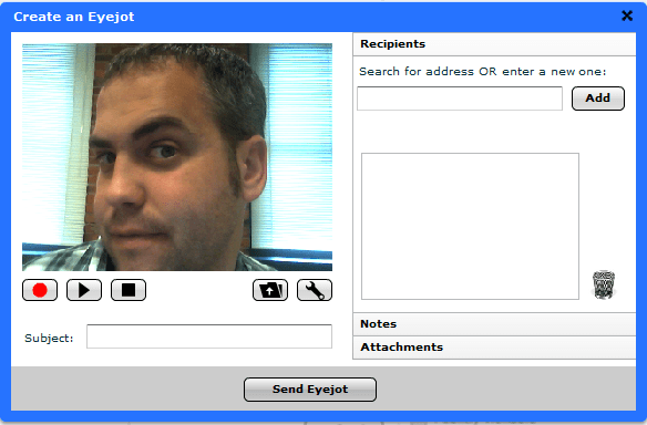 record and send a webcam email with Eyejot