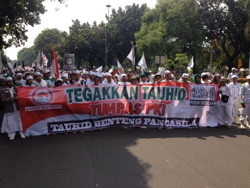 Image result for Protest in Jakarta, anti-communist, September 29, 2017, photos